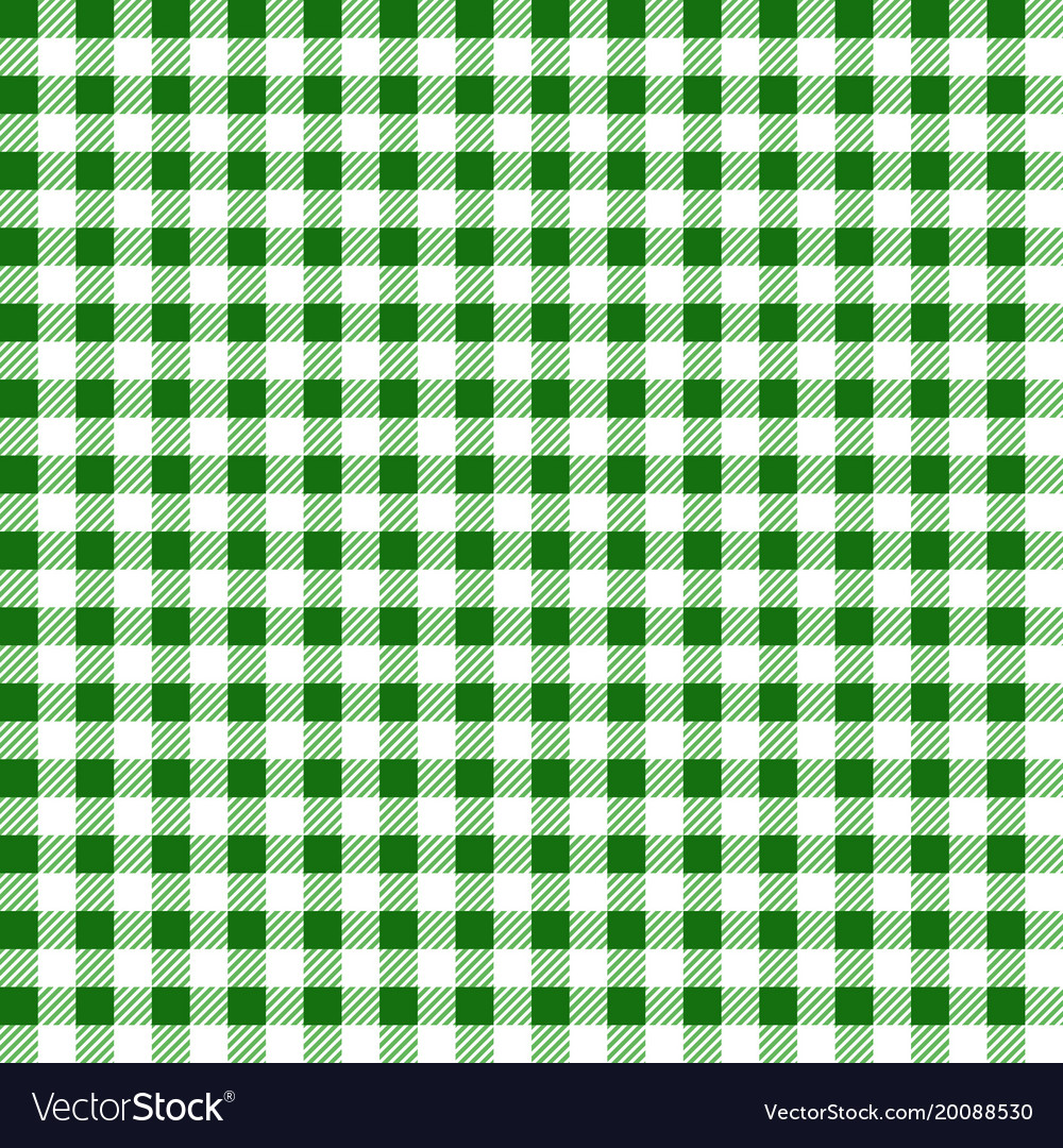 Green and white gingham tablecloth seamless patter