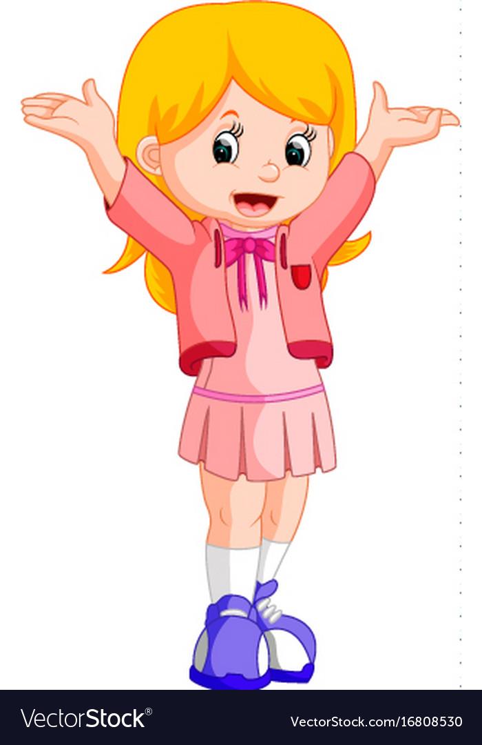 Happy little girl cartoon Royalty Free Vector Image