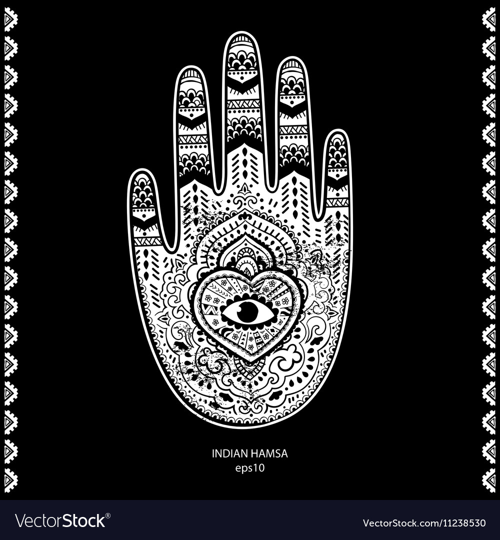 Indian hand drawn hamsa symbol ornament