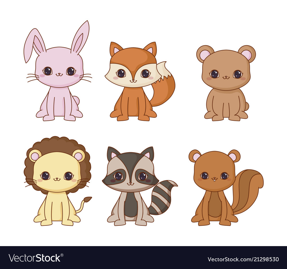 Image of: Etsy Kawaii Animals Desing Vector Image Vectorstock Kawaii Animals Desing Royalty Free Vector Image