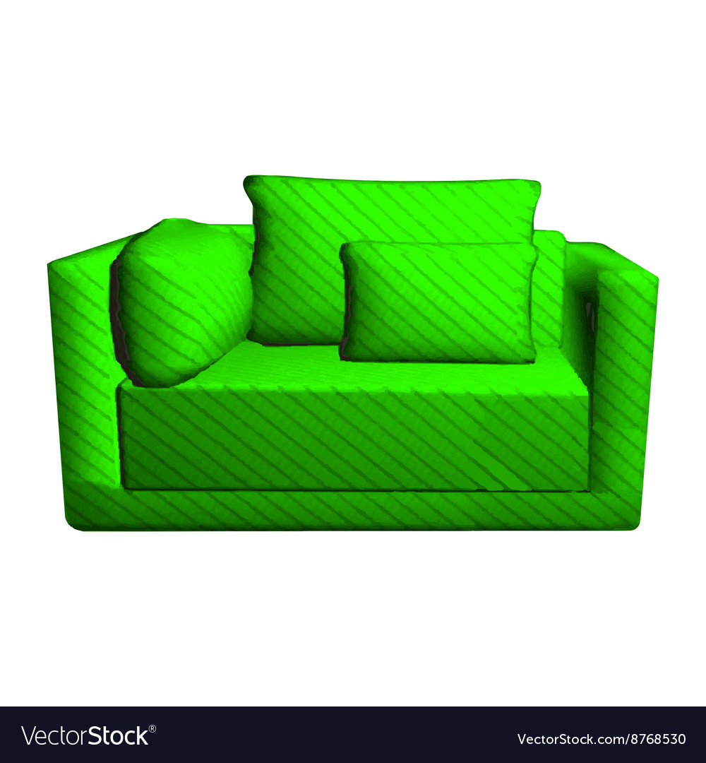 Pleasant Leather Green Sofa With Pillows Isolated On White Machost Co Dining Chair Design Ideas Machostcouk