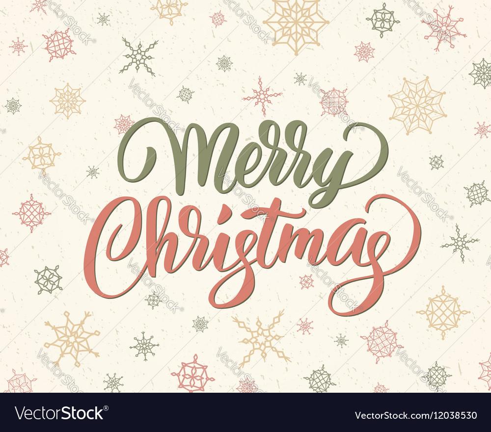 Merry Christmas Lettering.Merry Christmas Brush Lettering Against Background