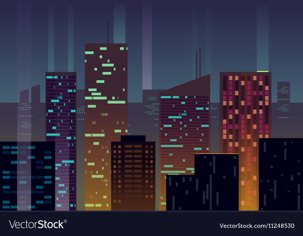 Night city buildings with glowing windows at dusk