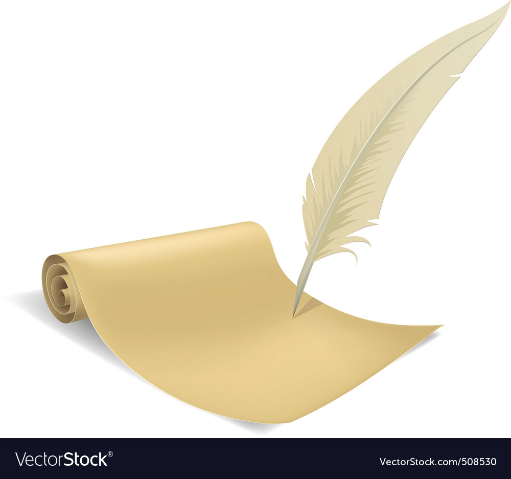 Old paper scroll and feather vector image