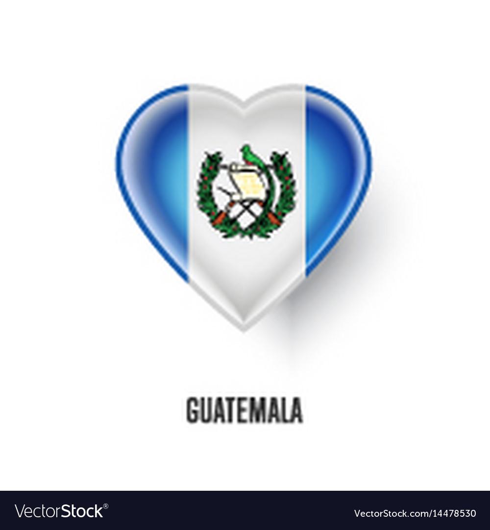 Patriotic heart symbol with guatemala flag vector image