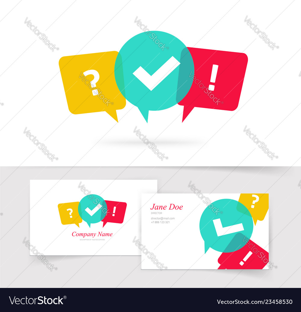 Quiz logo business card questionnaire icon