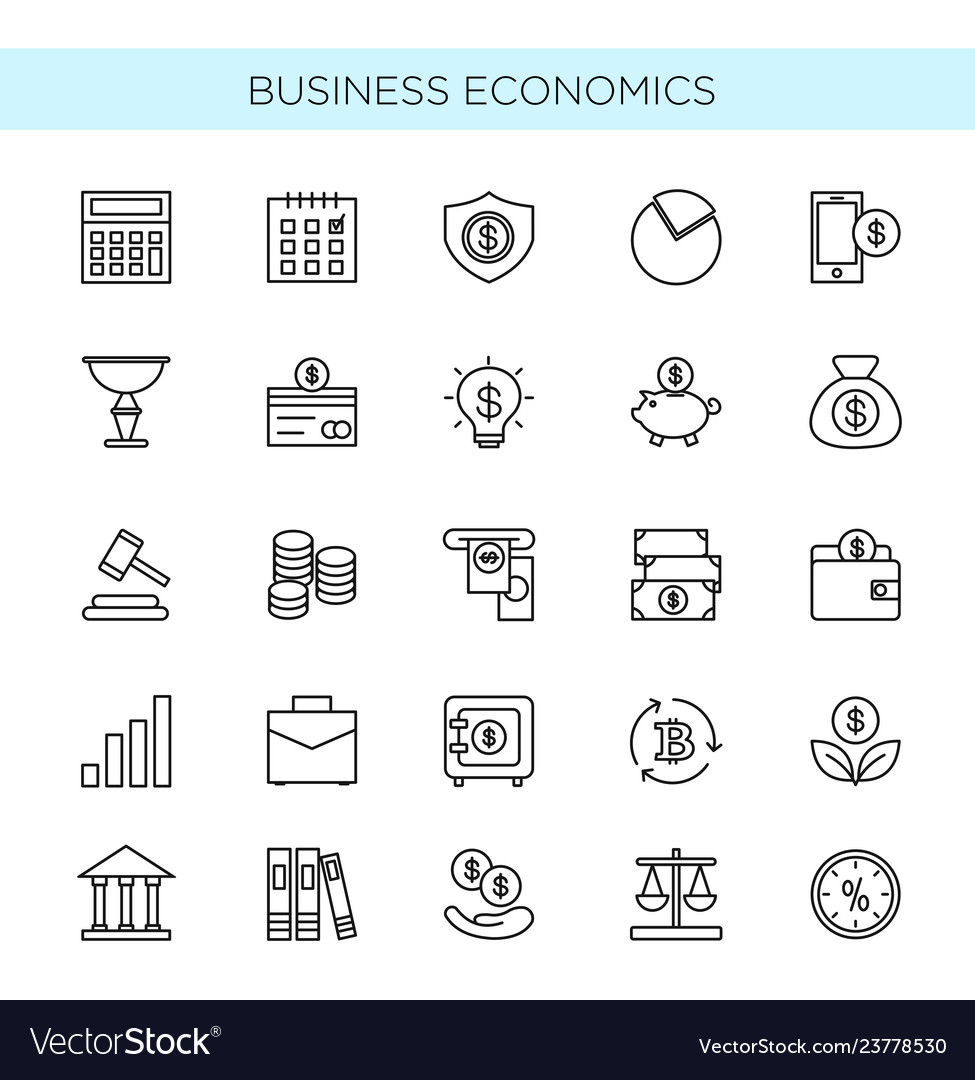 Set of thin line icons of