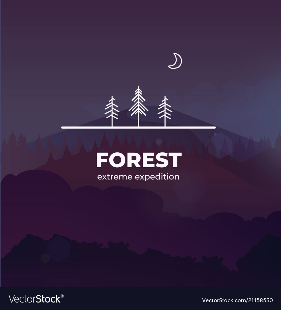 Trendy forest logo badge in outline style in the
