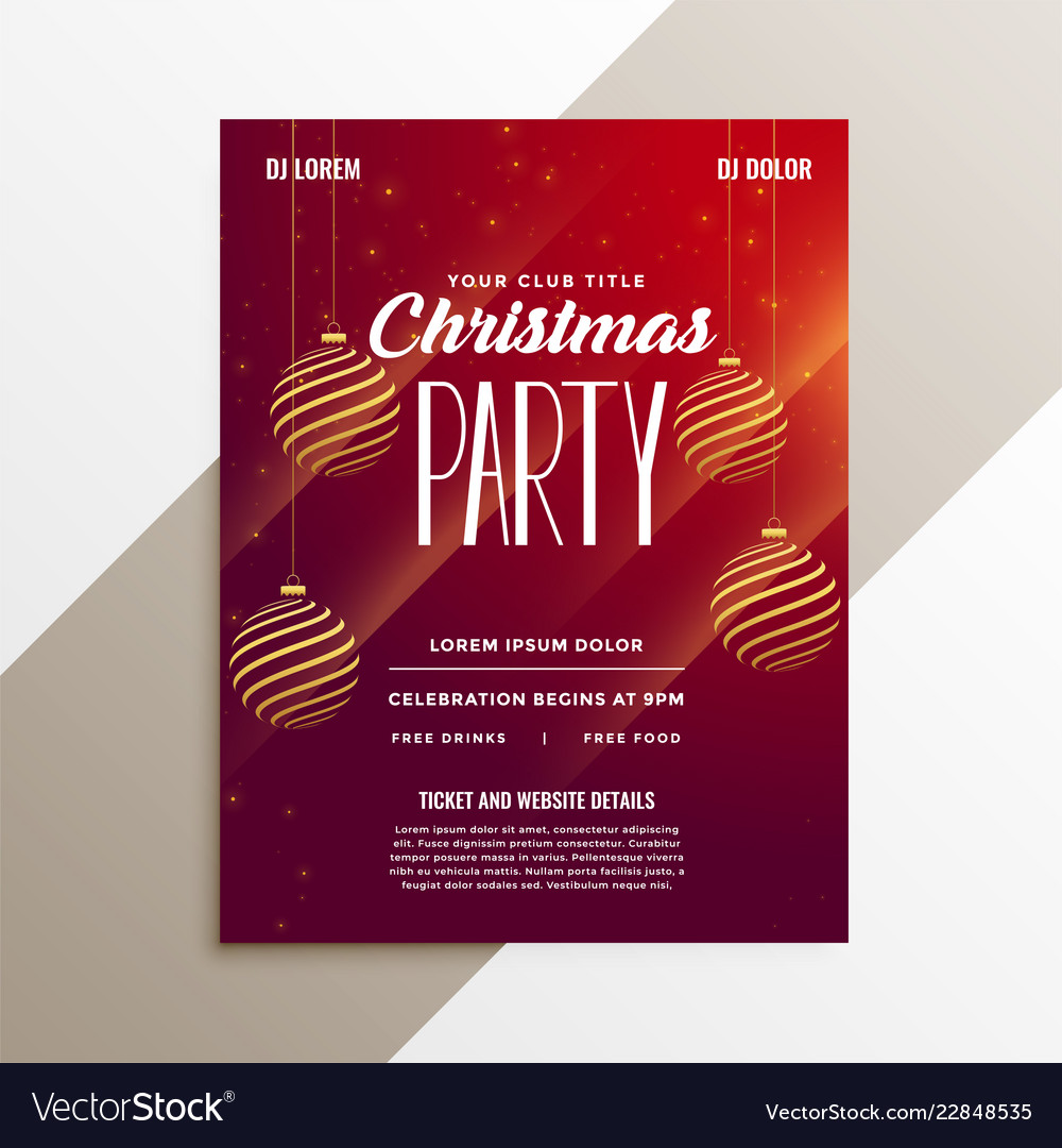 awesome christmas party flyer layout template vector image