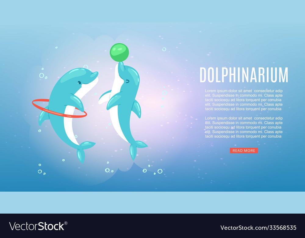 Dolphinarium banner inscription underwater ocean