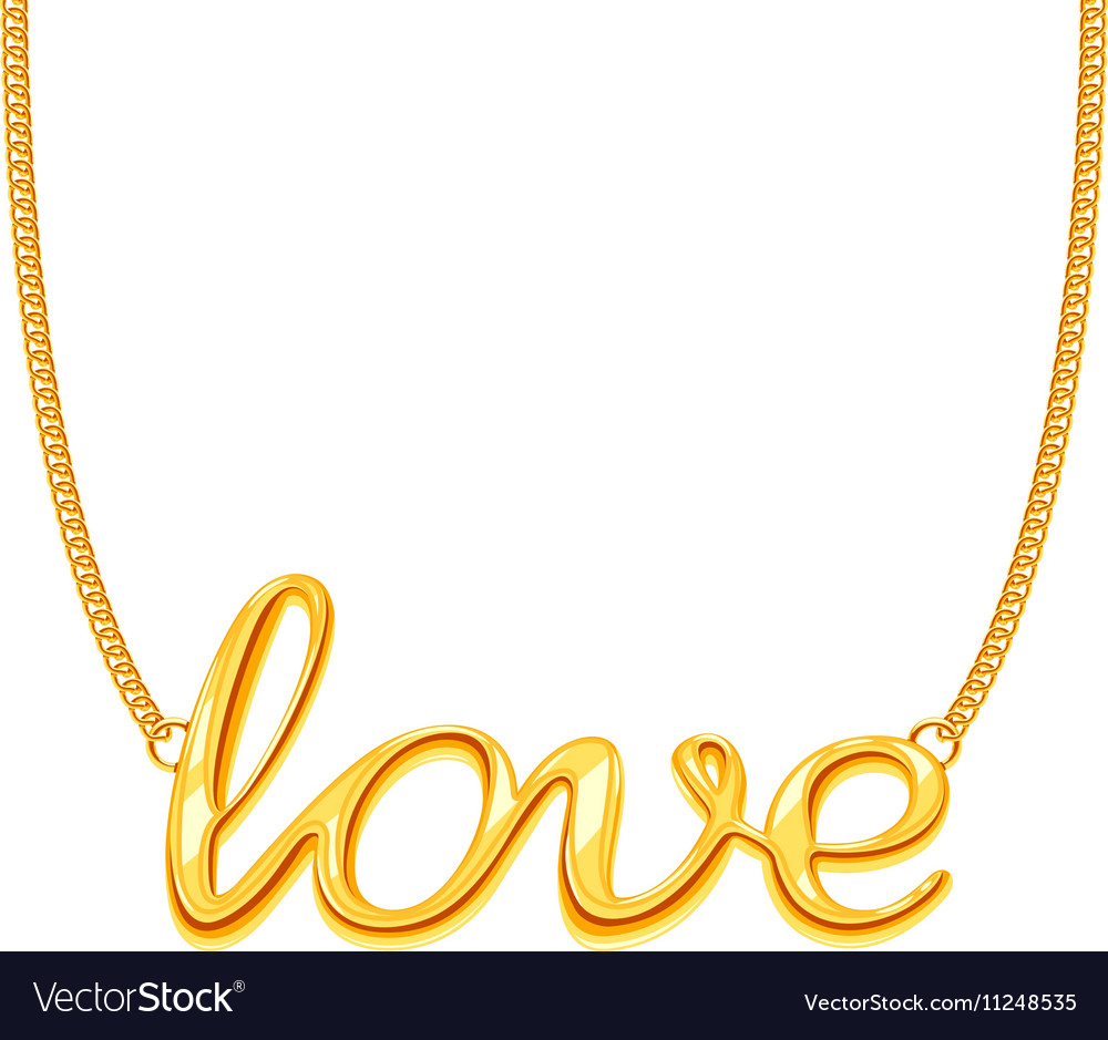 Gold chain necklace with love word pendant vector image aloadofball Choice Image
