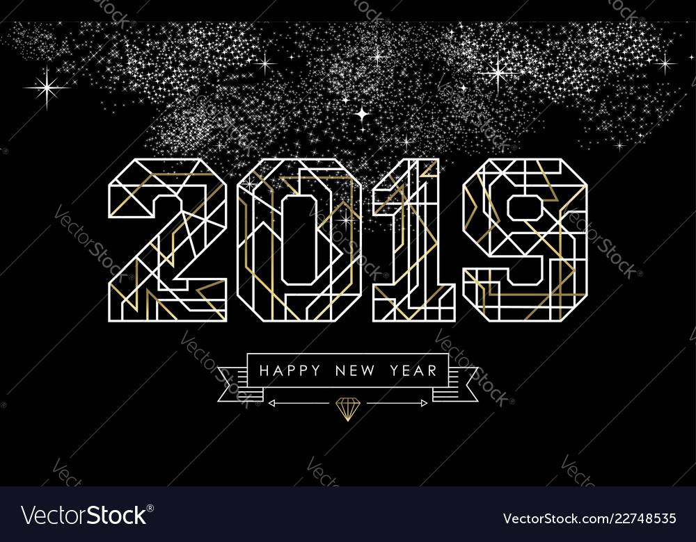 Happy new year 2019 gold deco geometry outline