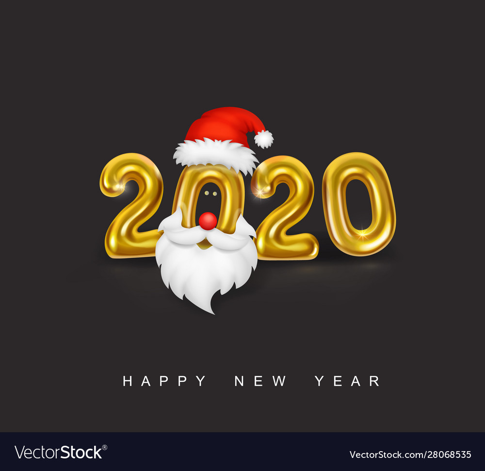 Happy new year gold metallic numbers 2020
