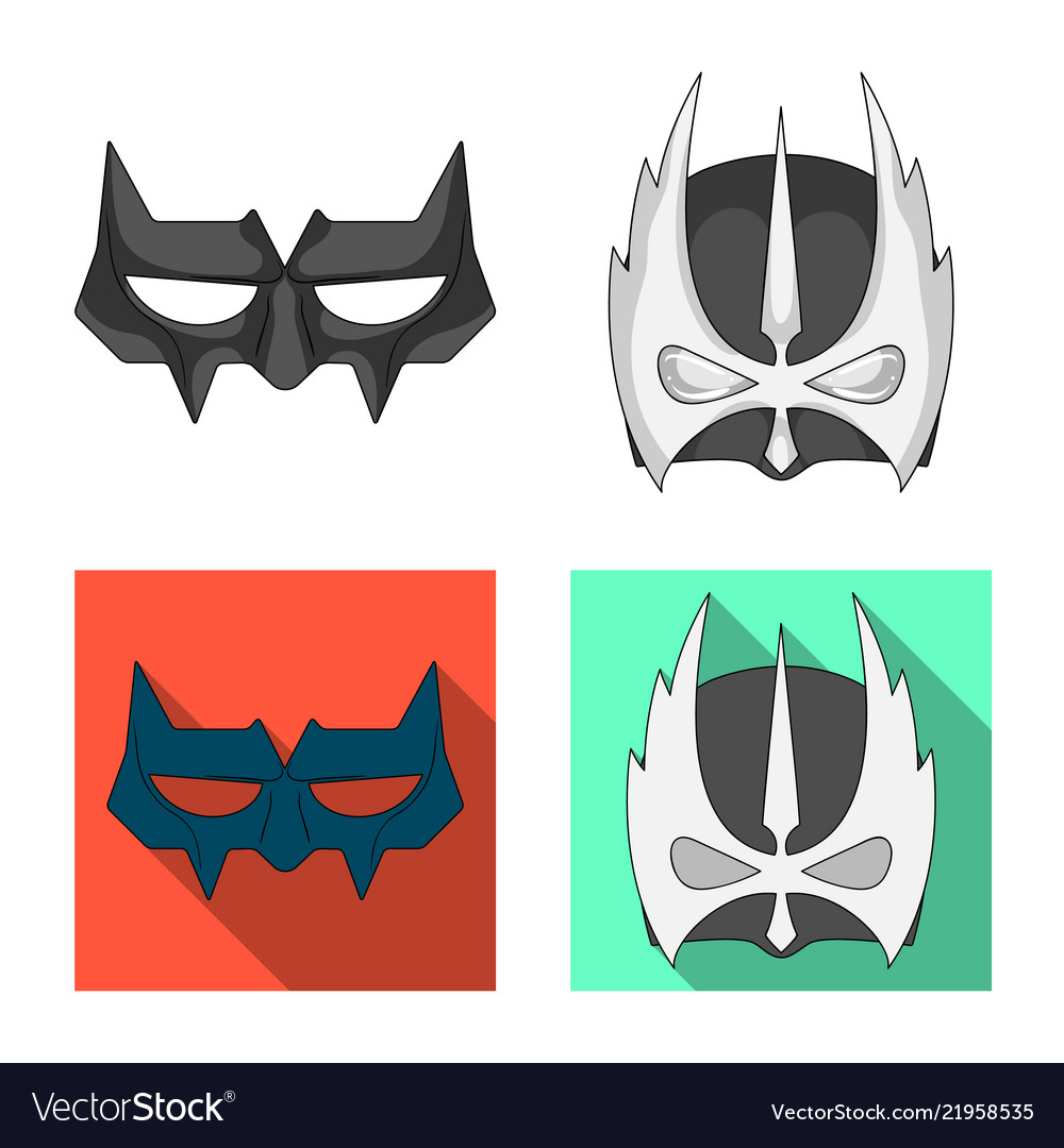 Isolated Object Of Hero And Mask Symbol Collection