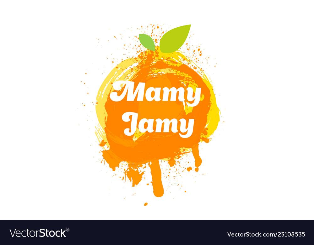 Jam logo and emblem fresh fruits and splashes