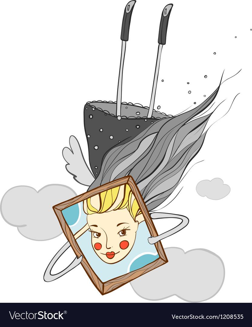 Portrait of Beautiful Girl Cartoon vector image