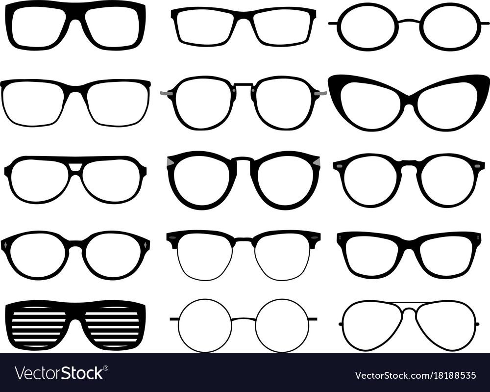 Set Of Custom Glasses Isolated On White Background