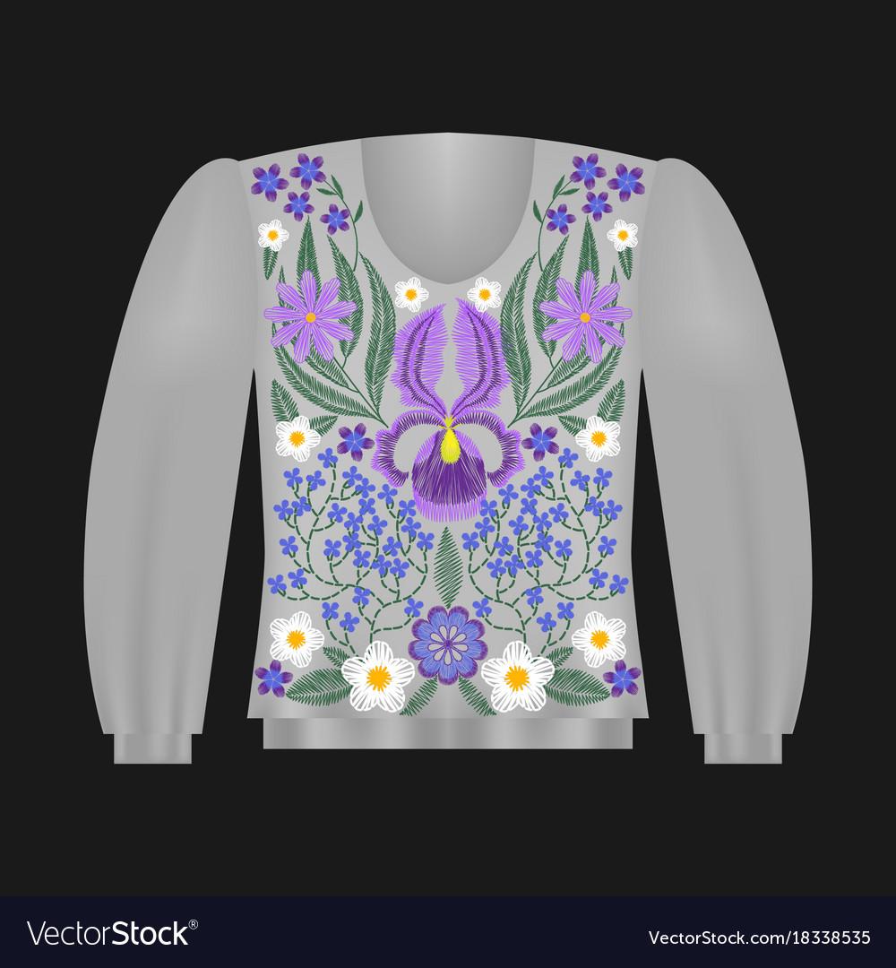 Sweatshirt template with irises vector image