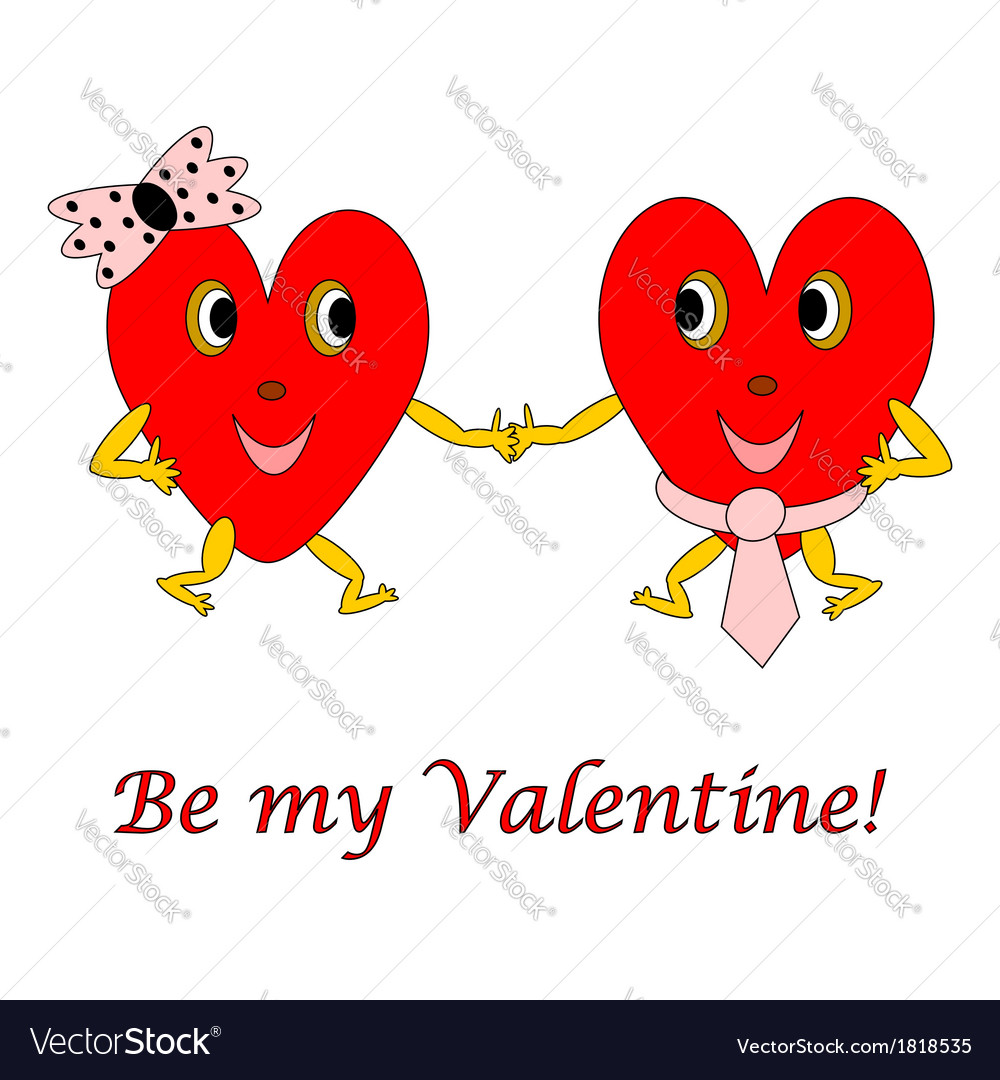 Two funny cartoon hearts