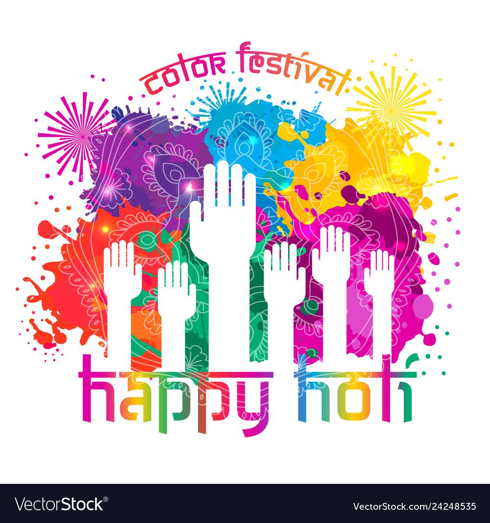 Watercolor hand drawn happy holi celebration card