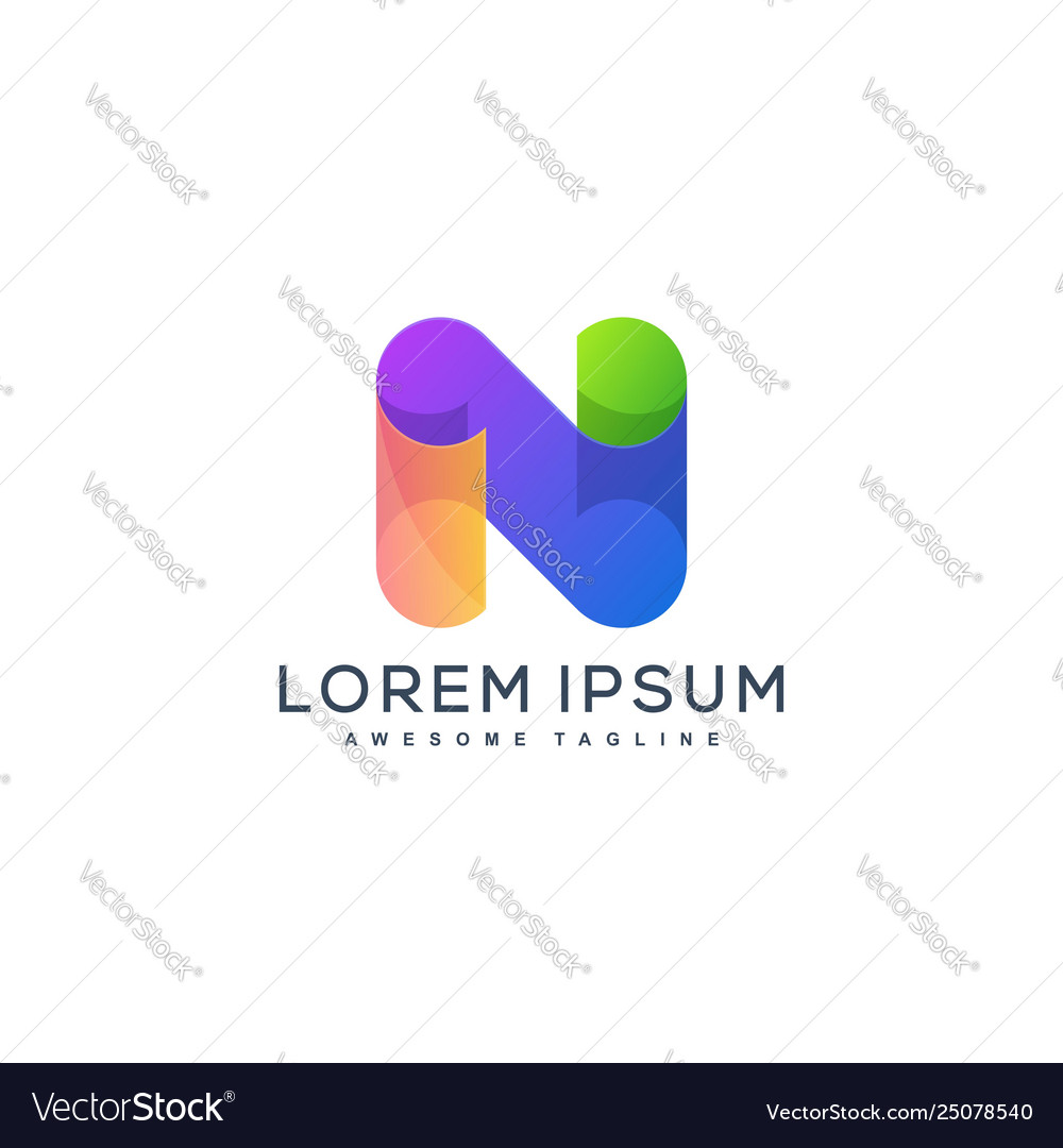 Abstract letter n design template