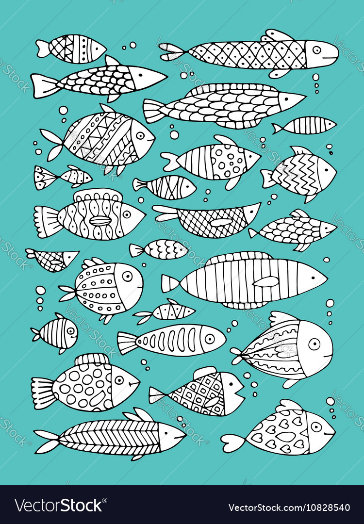 Art fish collection sketch for your design