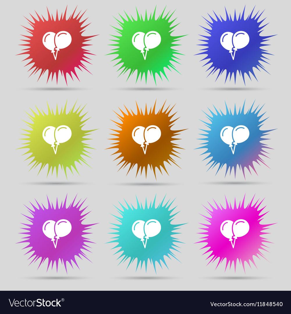 Balloon Icon sign A set of nine original needle
