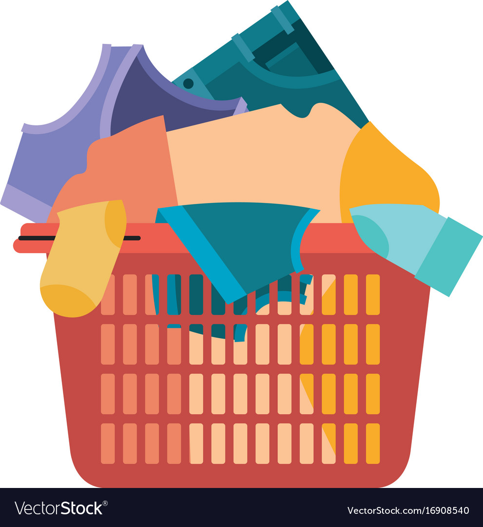 Colorful silhouette of laundry basket with heap of