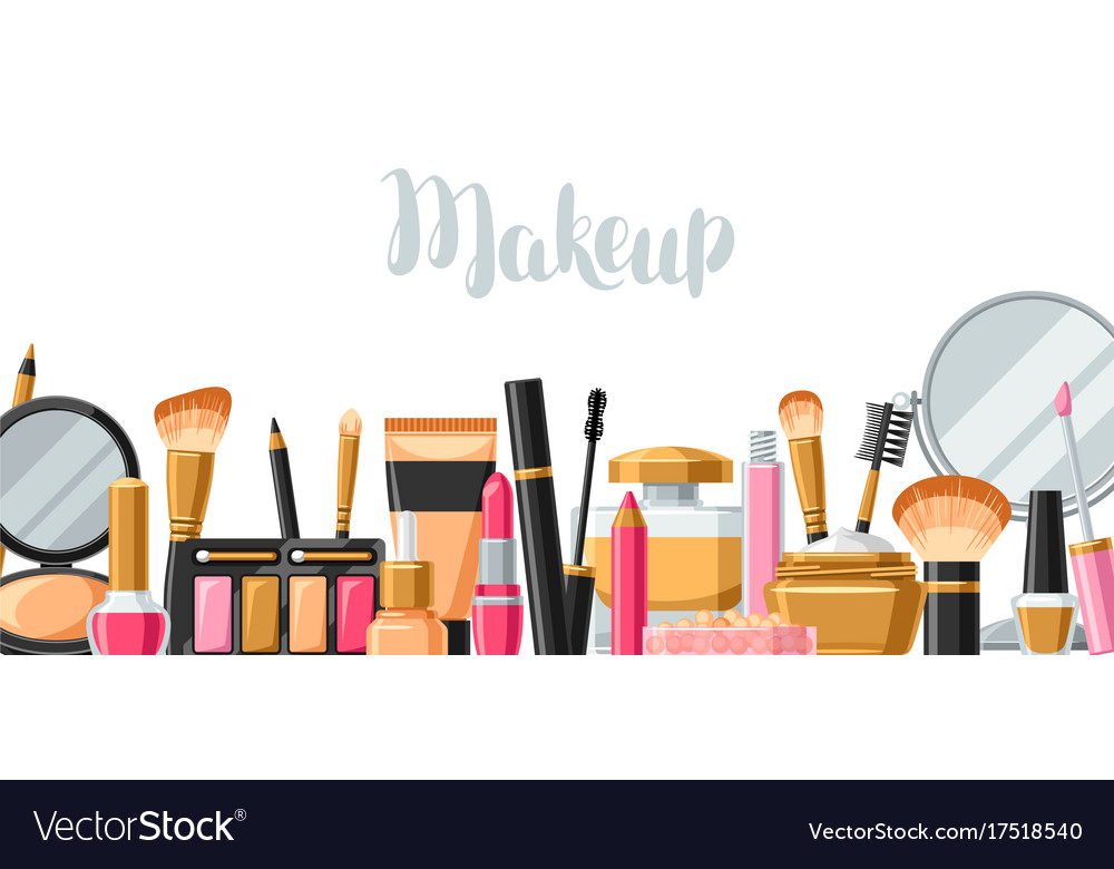 Cosmetics For Skincare And Makeup Banner For Vector Image