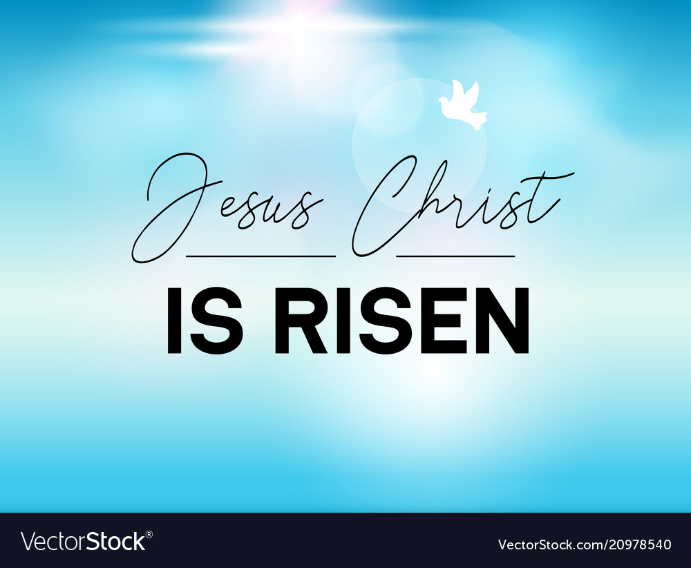 Easter typography banner he is risen sky and sun