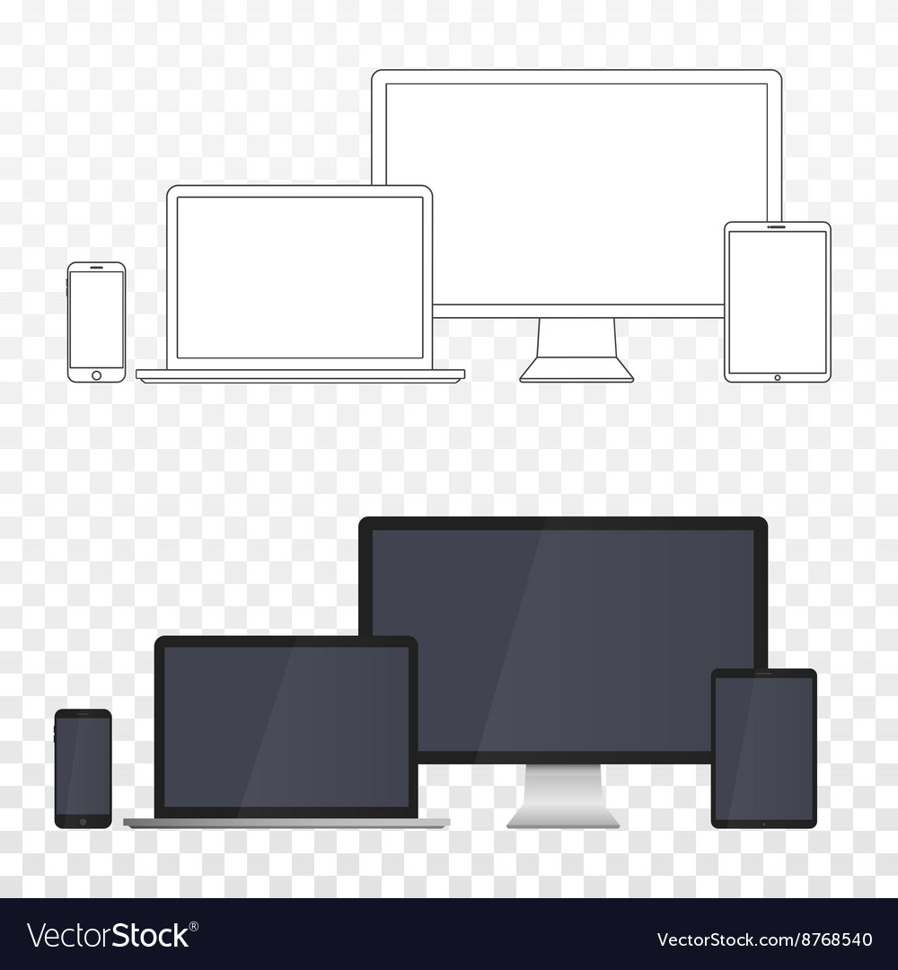 Electronic Devices Screens isolated on white