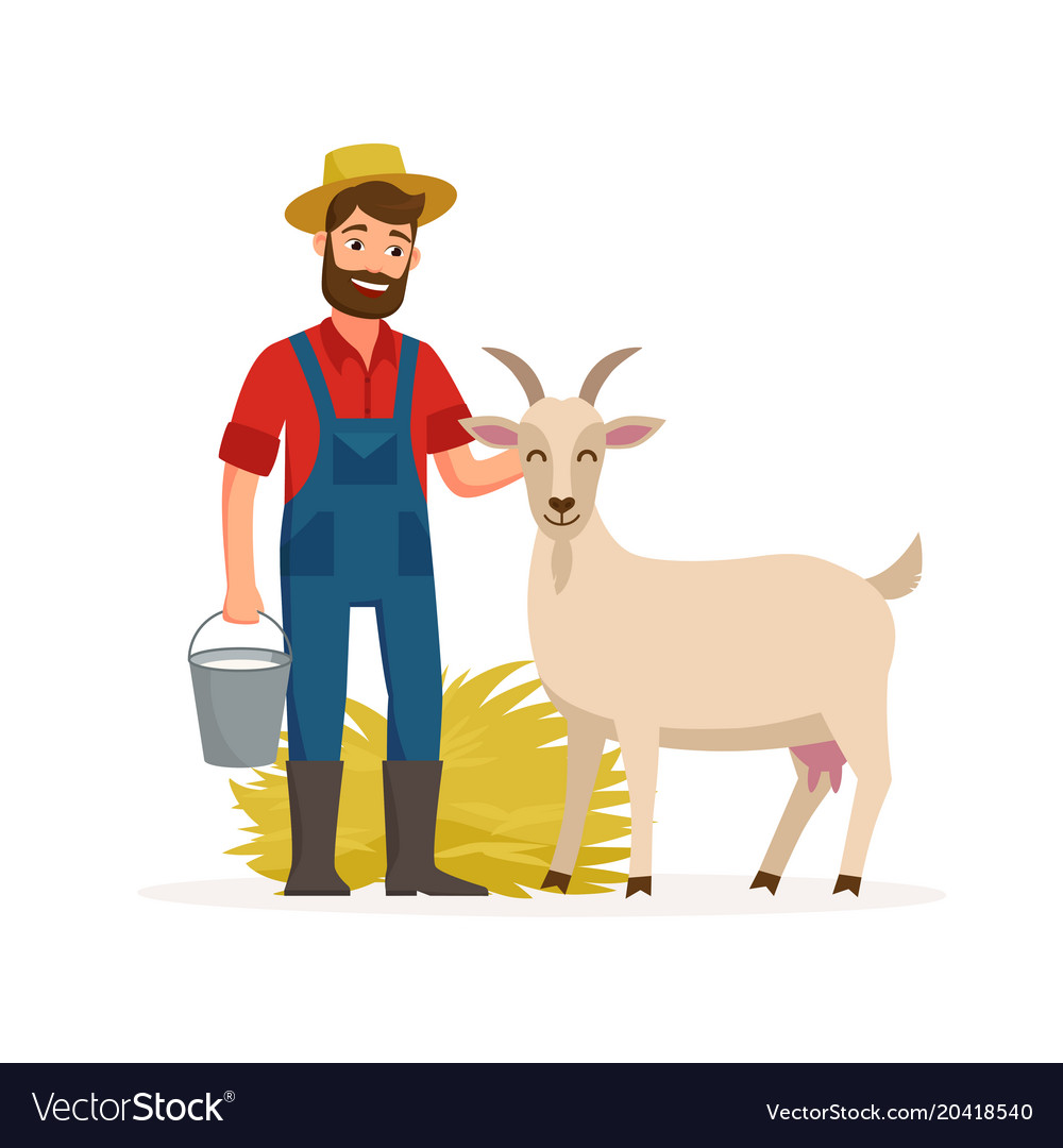 Farmer with goat and bucket with goat milk and hay vector image