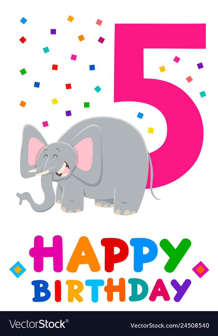 Fifth birthday cartoon greeting card design