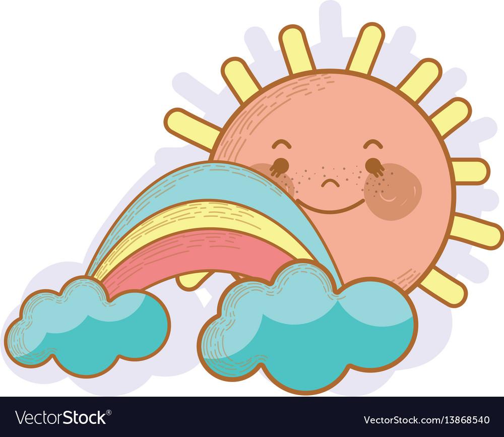 Kawaii happy sun with cloud and rainbow vector image