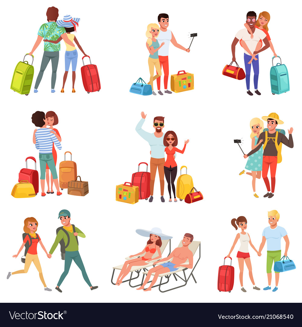 People traveling set family couple with luggage