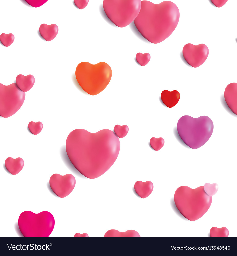 Realistic glossy hearts seamless pattern vector image
