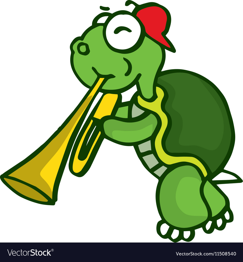 Turtle with trumpet funny cartoon vector image