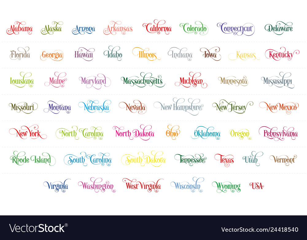 Typography of the usa states name colorful