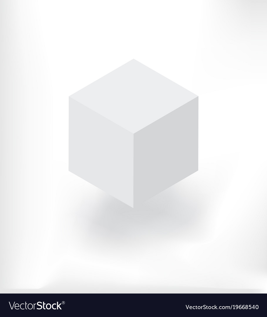 White isometric cube with shadow