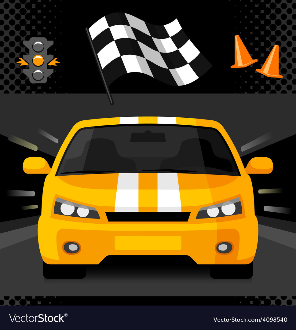 Yellow street racing car with sport checkered flag
