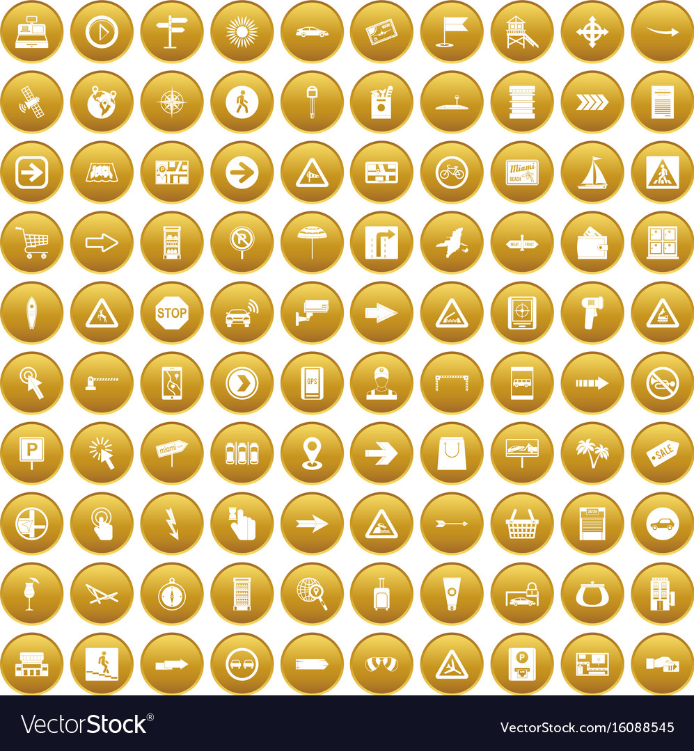 100 pointers icons set gold