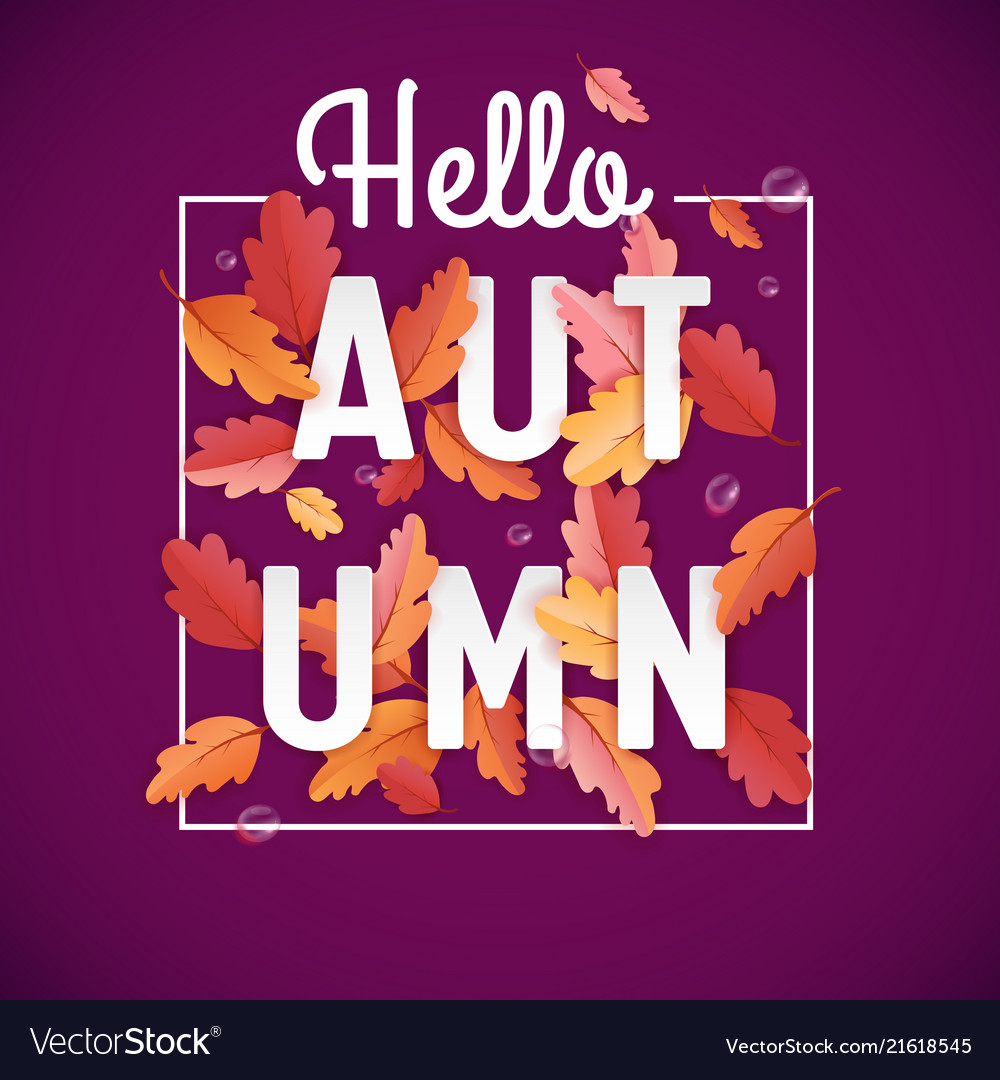 Autumn background template with beautiful leaves