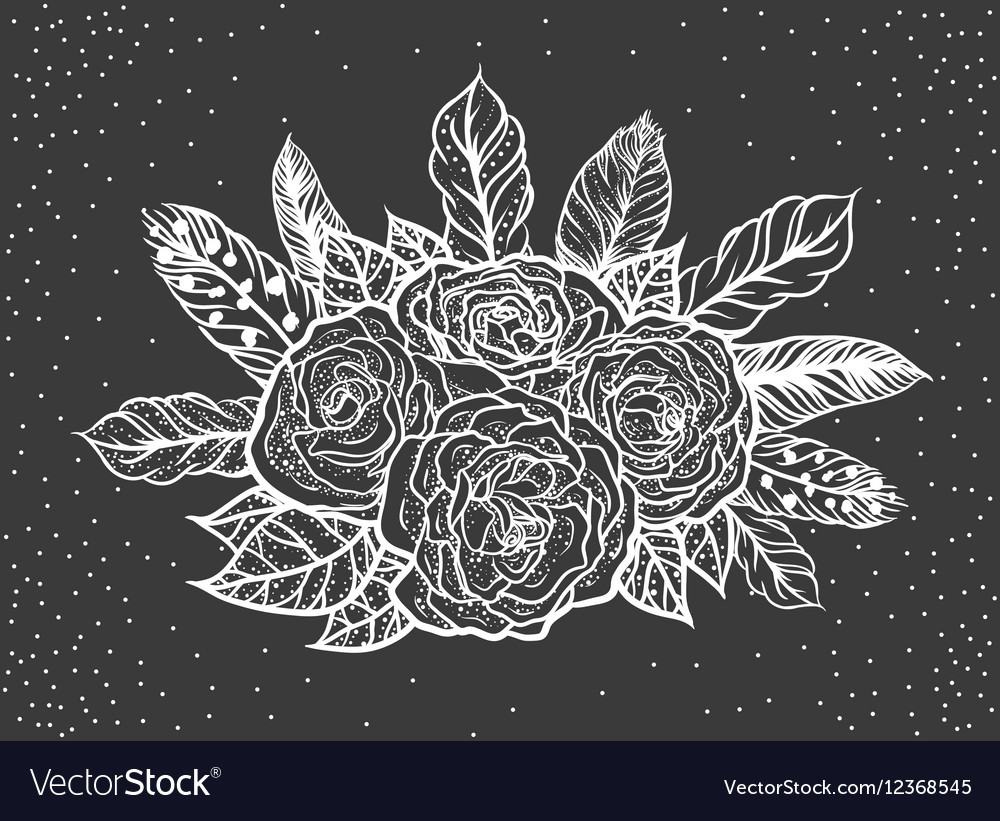 Blackwork Tattoo Of Rose And Feathers Bouquet Vector Image
