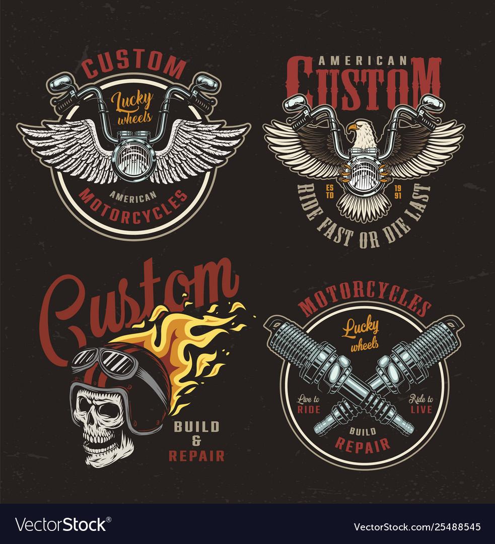 Colorful motorcycle emblems set