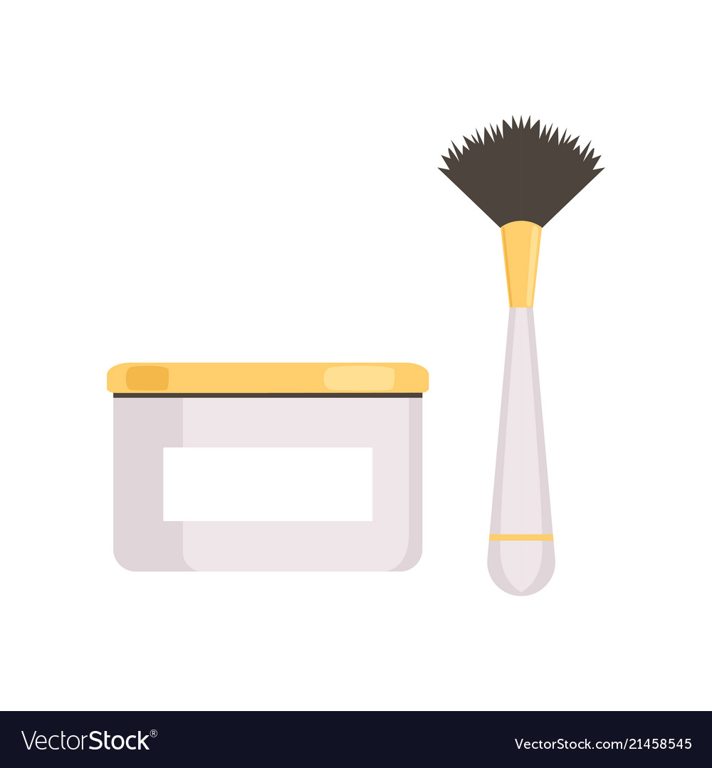 Cream jar package and brush on