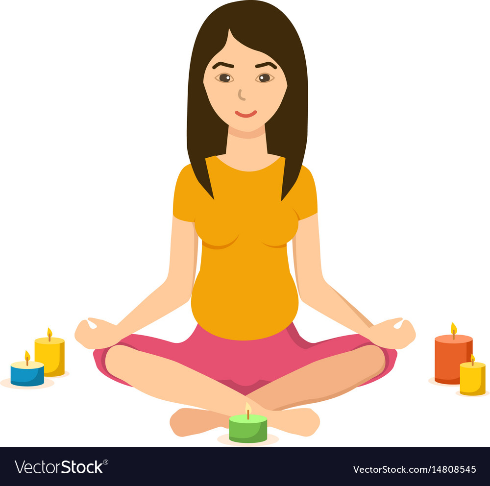 Girl is engaged in the lotus position in yoga vector image
