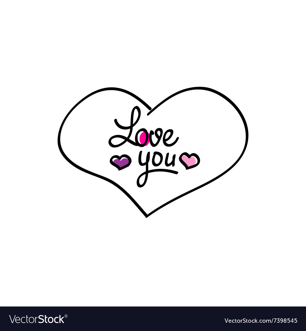Hand-drawn heart love you icon vector image