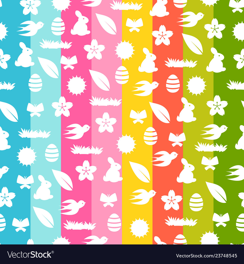 Happy easter seamless pattern with holiday items