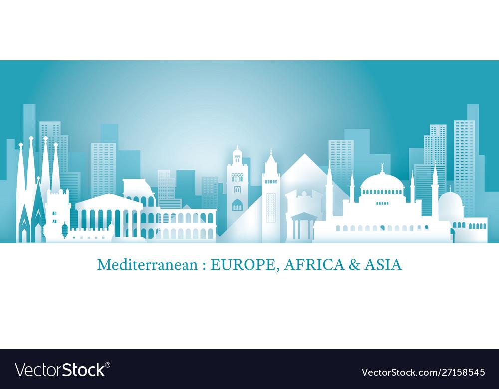 Mediterranean skyline landmarks in paper cutting