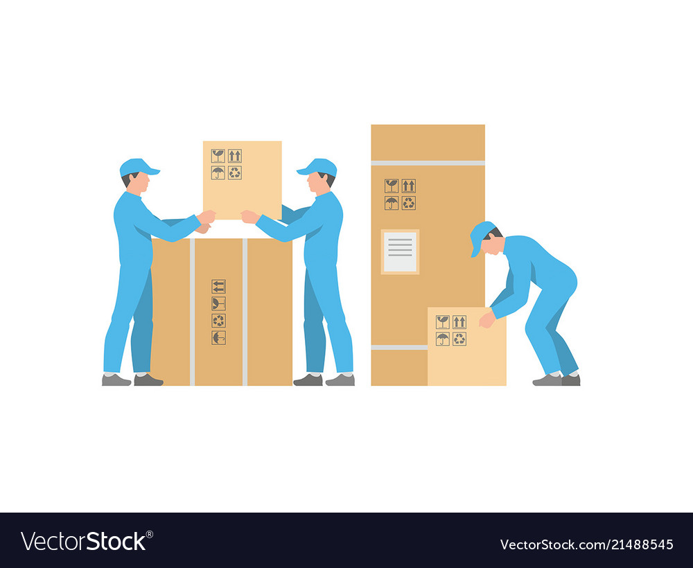 Men delivery service with boxes